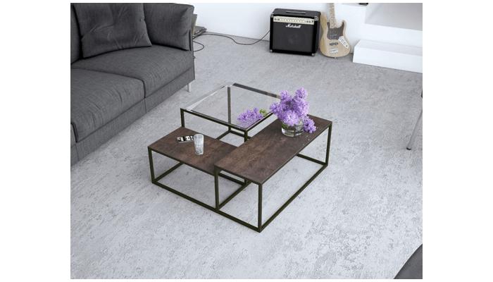 MONTANA - Table de séjour plateau bois 1 allonge portefeuille en bout de 65 cm