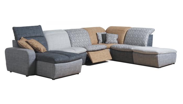MERLIN - Canapé relaxation électrique 2.5 places avec option accoudoirs réglables et têtières électriques