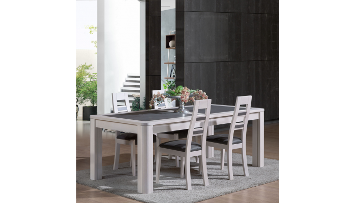 Table dessus plaque chêne et céramique COLOR MIX